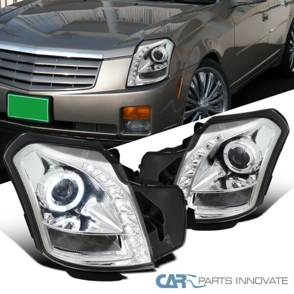 For Cadillac 03-07 CTS LED Clear Halo Projector Headlights Head Lamps Left+Right