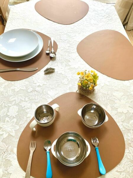 6pcs Faux Leather Tan Placemats Place Settings Serving Tableware tablemats