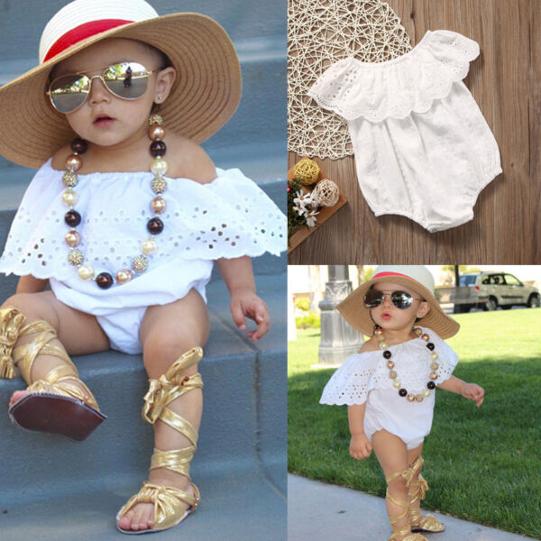 US Newborn Infant Baby Girl Lace Romper Jumpsuit Bodysuit Clothes Outfit Sunsuit