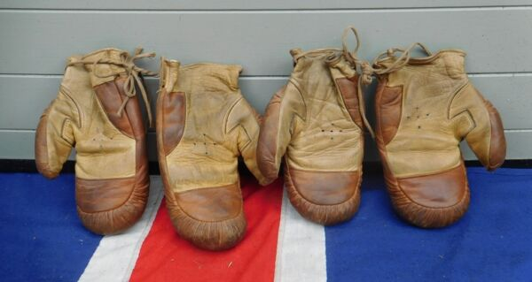 TWO PAIRS OF CHILDRENS ANTIQUE VINTAGE LEATHER  BOXING GLOVES