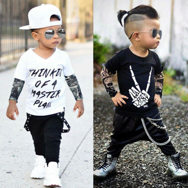 US Newborn Toddler Infant Baby Kids Boys Clothes T-shirt Tops+Pants Outfits Set