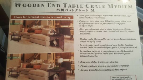 Wooden dog crate & end table Richell brand room for multiple pets; sm-med size