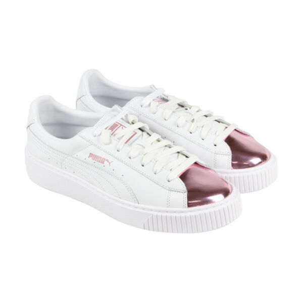 Puma Basket Platform Metallic Womens White Leather Lace Up Sneakers Shoes
