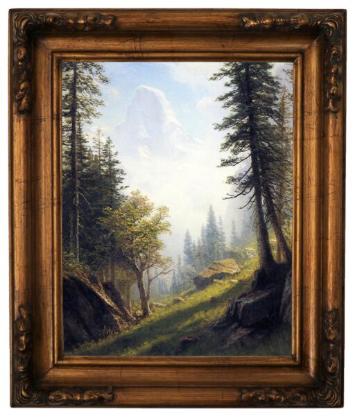 Bierstadt Among the Bernese Alps Wood Framed Canvas Print Repro 11x14
