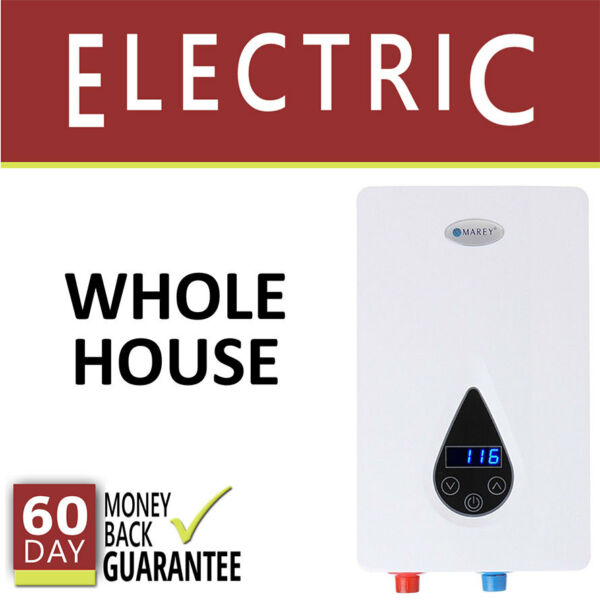 Electric Tankless Hot Water Heater 3.5 GPM Marey On Demand  Whole House