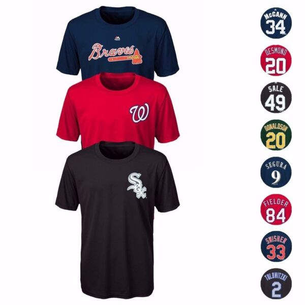 MLB Majestic Name & Number Player Jersey Infant Toddler Youth T-Shirt Collection