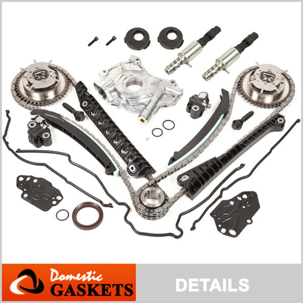 04-08 Ford Lincoln 5.4L 3V Timing Chain Oil Pump Kit+Cam Phasers+Gasket+Solenoid