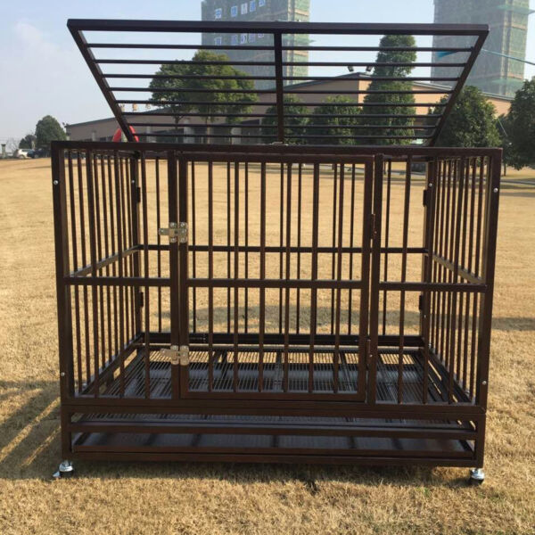 42quot; Heavy Duty Metal Rolling Dog Cage Crate Kennel Pet House with Tray amp; Wheels