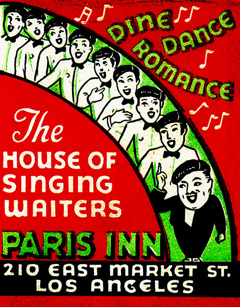 1930's Paris Inn - The House of Singing Waiters - Los Angeles - Matchbook Poster