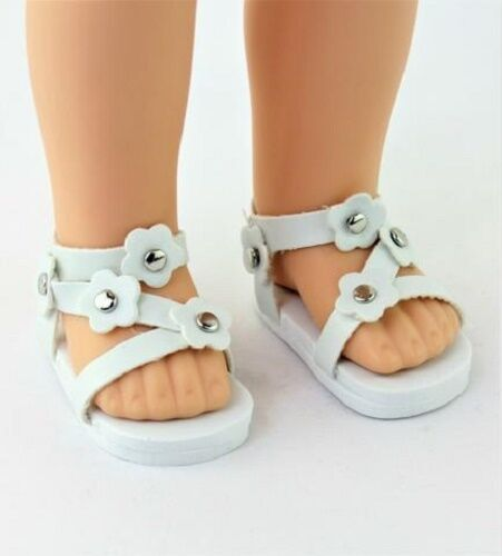 White Flower Sandals Fits Wellie Wishers 14.5