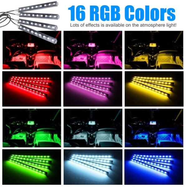4Pcs Car Interior Atmosphere Neon Strip Lights 9LED Wireless IR Remote Control