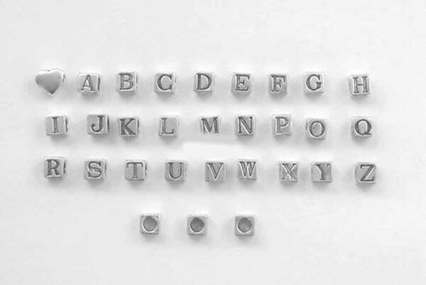 Sterling Silver 6mm Alphabet Block Beads Choice of Letter