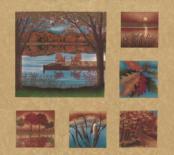 AUTUMN REFLECTIONS Fabric Blocks Panel Moda Fabric Squares by Holly Taylor