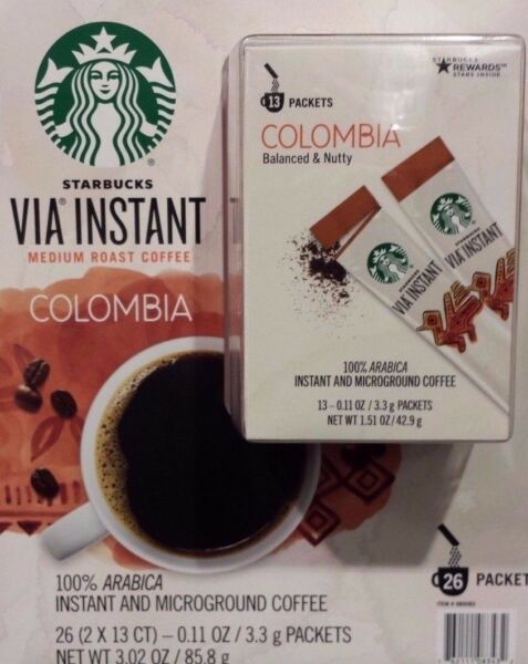 30 BOXES=390 PACKS STARBUCKS VIA INSTANT COFFEE MED ROAST COLUMBIA BEST 110318