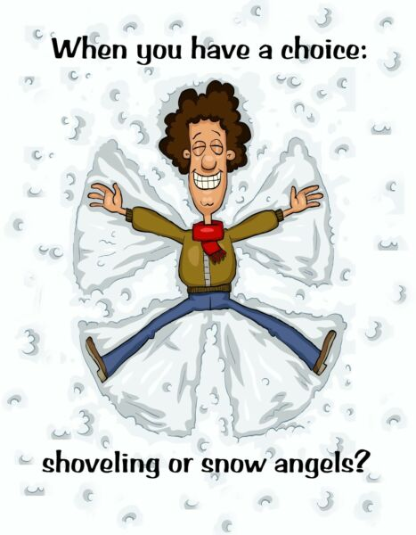 METAL REFRIGERATOR MAGNET Choice Shoveling Or Snow Angels Family Friend Humor