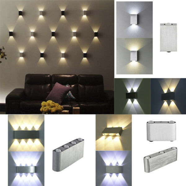 Modern 2/4/6/8W LED Wall Light Up Down Lamp Sconce Lighting Home Bedroom Fixture