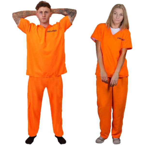 ADULT COUPLES PRISONER COSTUMES CONVICT HALLOWEEN FANCY DRESS HIS AND HERS GBP 25.99