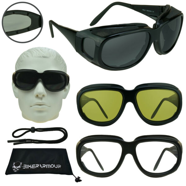 Motorcycle Fit Over RX glasses Sunglasses Side Shields Goggles Dust Windproof