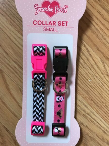 Smoochie Pooch COLLAR SET (2) Pink Puppy PrintBlack & White PuppyDog SMALL