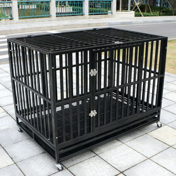 48quot; Heavy Duty Metal Dog Crate Cage Square Tube Pet Kennel Playpen Wheels amp; Tray
