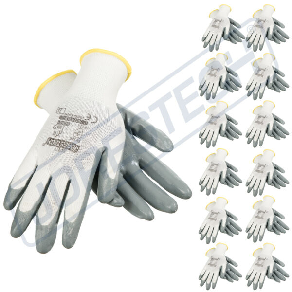 Grey Nitrile Dipped Poly Work Gloves ( 12 Pairs ) 1 Dozen JORESTECH
