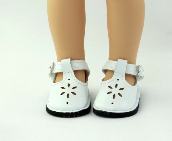 White Flower Dress Shoes Fits Wellie Wishers 14.5