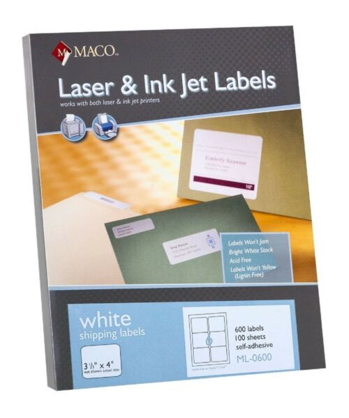 Maco ML0600 LaserInk Jet Shipping Labels 3-1 x 4