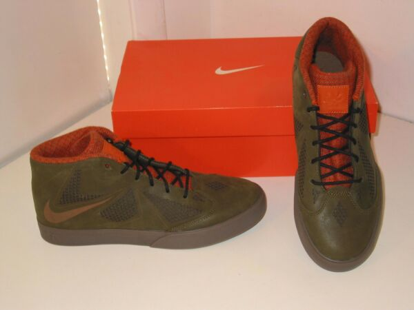 Nike Lebron X NSW Lifestyle Dark Green Brown Basketball Sneakers Shoes Mens 8