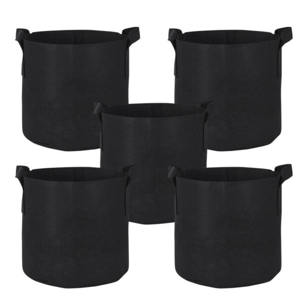 10 Pack Round Fabric Aeration Plant Pots Grow Bags 1 2 3 5 7 10 Gallon Black