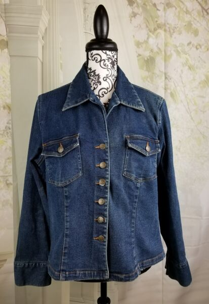 Will Smith womens long sleeve stretch blue jean button down jacket size xl b16