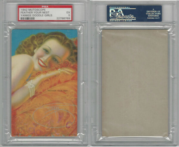 W424-2f Mutoscope Yankee Doodle Girls 1942 Feather Your Nest PSA 5 EX