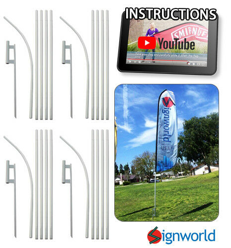 16#x27; TALL SLEEVE SWOOPER FLAG POLE KIT W Spike Flutter Feather Banner 4 PCS