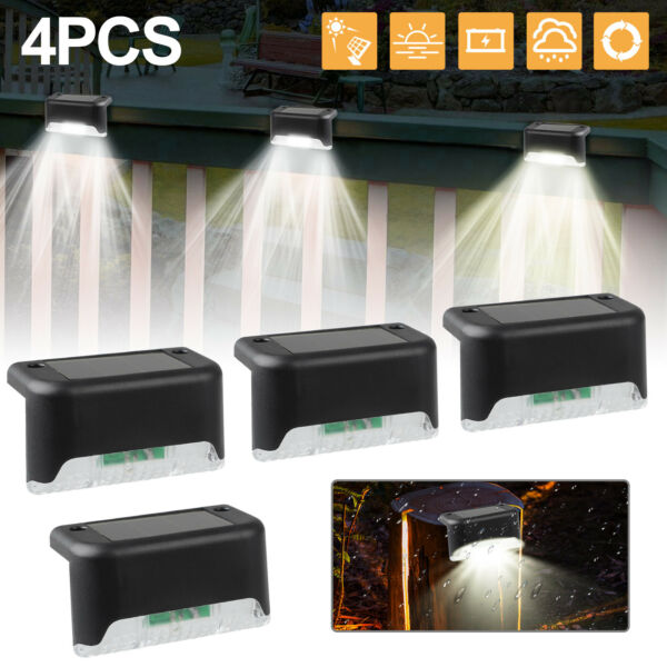 4 Solar LED Bright Deck Lights Outdoor Garden Patio Railing Decks Path Lighting $14.97