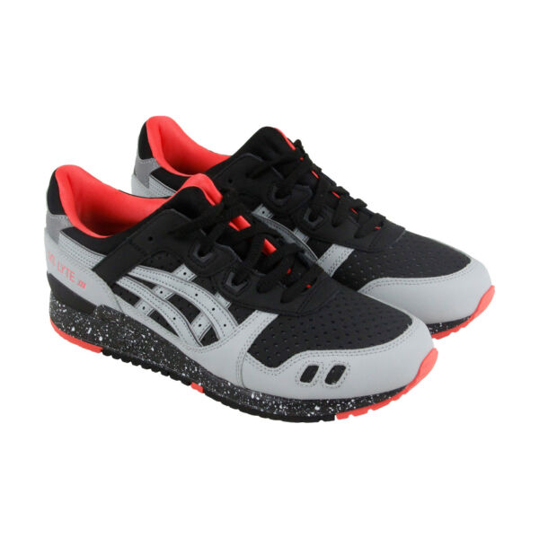 Asics Gel Lyte III Mens Black Leather & Canvas Lace Up Sneakers Shoes