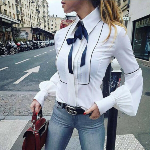 OL Women Lady Lantern Sleeve Casual Bow Tie Blouse Loose Tops Button Down Shirts