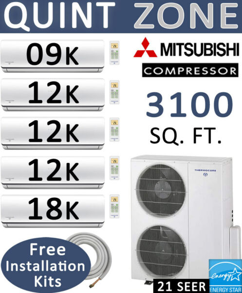 21 SEER Ductless Mini Split Air Conditioner Heat Pump 9000 + 12000 x3 + 18000