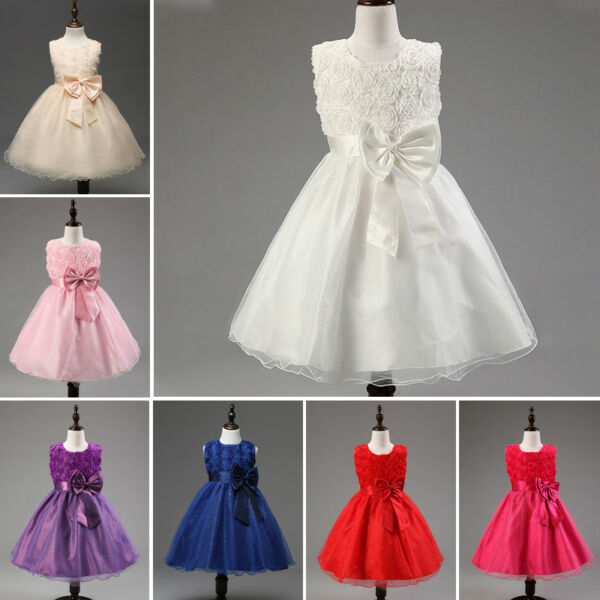 US Stock Baby Girls Weeding Dress Party Clothes Princess  Costume Formal Pageant