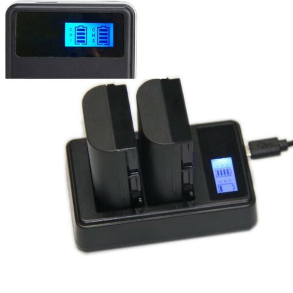 Dual LCD Display Battery Charger For Canon LPE6 7D 60D 6D 70D 5D2 5D Mark II III