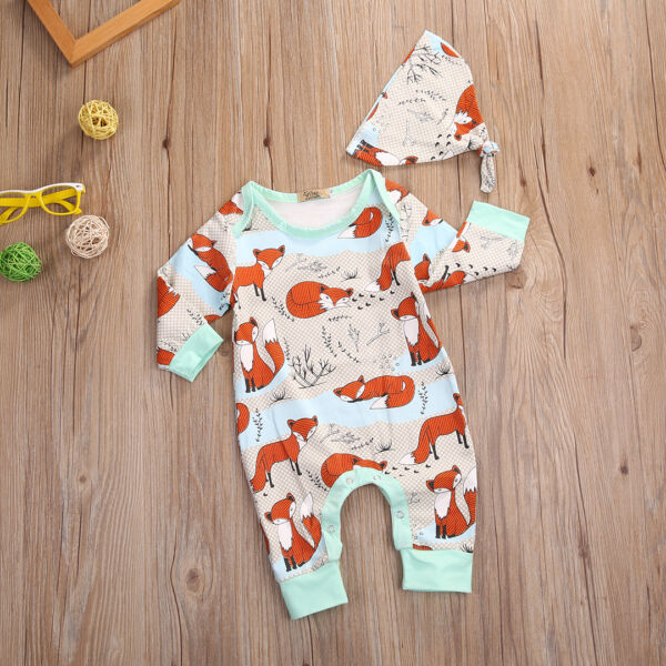 Newborn Infant Baby Girl Boy Clothes Fox Romper Jumpsuit Hat Outfits 2Pcs USA
