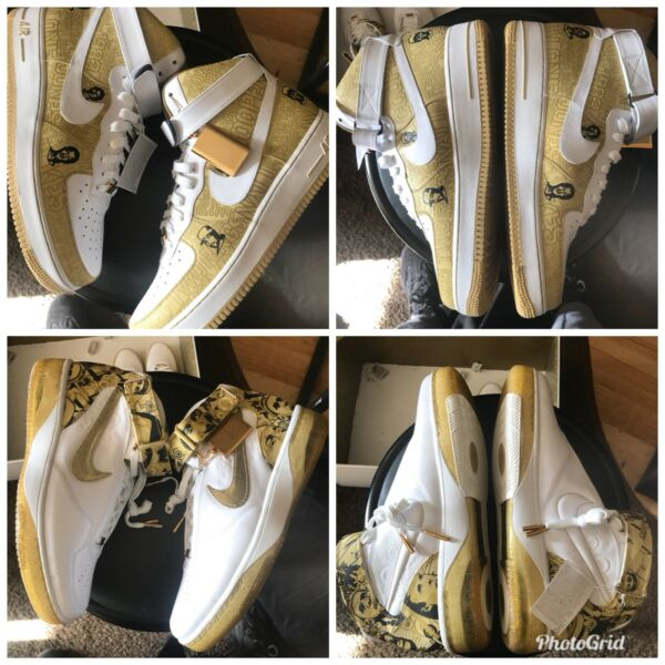 Nike Air Force One Gold-All Star Pack 25th Anniversary Sz 11.5 Off White lot