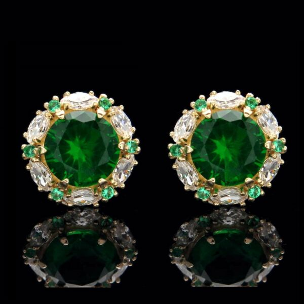 2.00CT Green Emerald Halo Marquise Created Diamond Stud Earrings 14k Yellow Gold