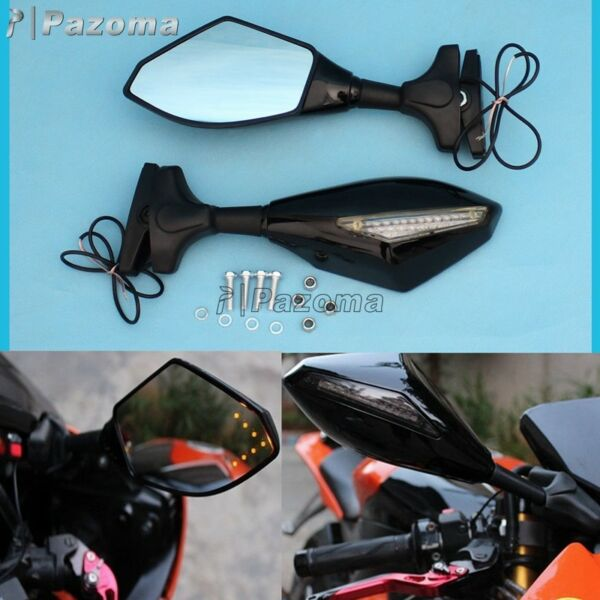 Motorcycle Rearview Side Mirrors With LED Turn Signals For Suzuki GSXR 600/700