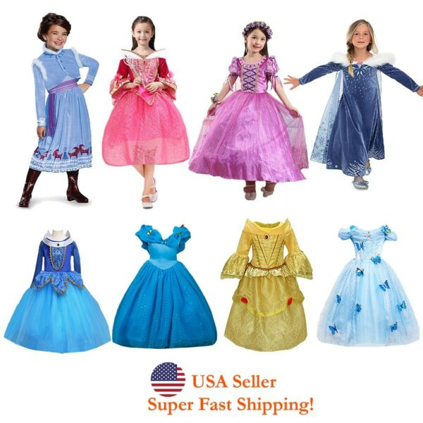 Sleeping Beauty Rapuzel Bella Cinderella Esla Anna Princess Costume Girls Dress $19.98