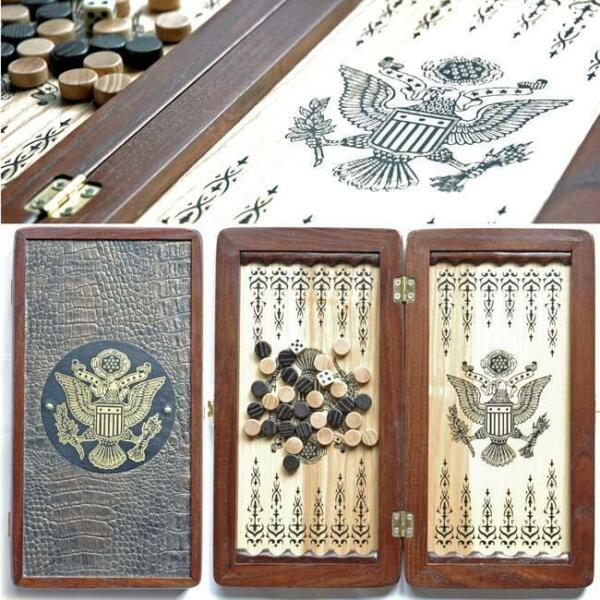 American Eagle Luxury Wooden Backgammon Set Leather Pieces Tournament Board New