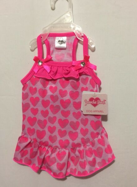 NWT Smoochie Pooch Lots of Hot Pink Hearts with Bow with Heart Bling Dress Small