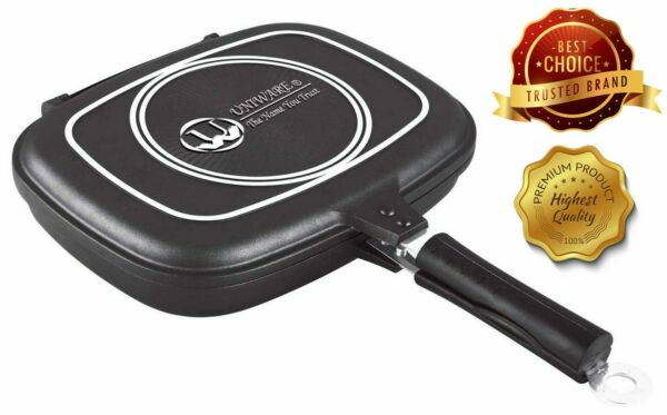 Non Stick Double Grill Pan For Indoor Outdoor For BBQ Fish Sturdy Magnetic $38.99