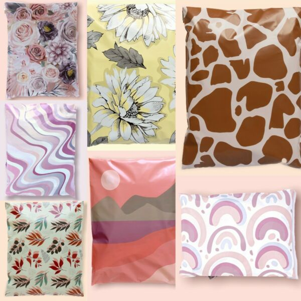 100 Designer Poly Mailers Plastic Envelopes Shipping Bags Custom #SmileMail® $9.99