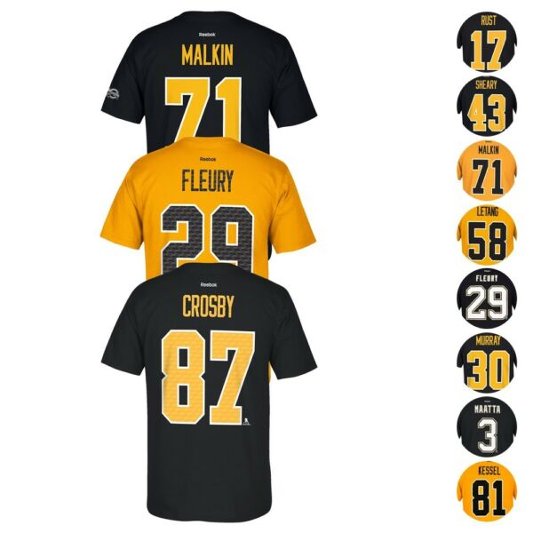 Pittsburgh Penguins NHL Reebok Player Name & Number Premier Jersey T-Shirt Men's
