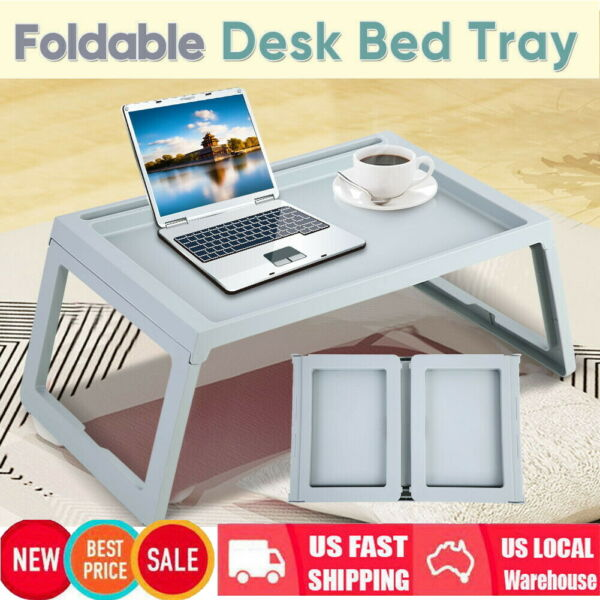 Wood Breakfast Bed Tray Lap Desk Serving Table Foldable Legs Wooden Food Dinner