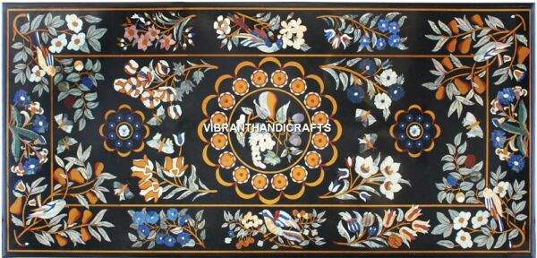 Black Marble Dining Custom Table Top Inlaid Work Floral Design With Birds H3849